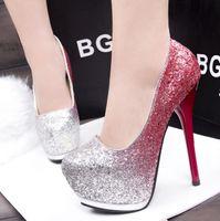 Wholesale club heels - Heat sells high quality sequined women's high heels,Korean vogue super high heel waterproof platform heels club sexy fish mouth light and wo