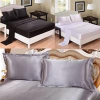 edredon venda por atacado-Lençol 4 pcs conjuntos de cama terno moda emulação de seda Queen Size Capa de Edredão de Luxo Fronha Pure Color High Grade 85sd4 Ww