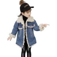 зимний длинный мех парка флис оптовых-Rlyaeiz новые зимние куртки для девочек 2018 детей пальто сгущаться флис теплый девушки мода меховой воротник середины длиной куртка пальто