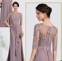 lilac long sleeve prom dress 2018 - New Arrival Cheap Mother of the Bride Groom Dresses Half Sleeves Illusion Chiffon Sheath Hollow Back Lace Long Prom Evening Wedding Party