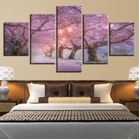 ingrosso bellissimi dipinti-Immagini della parete della tela Home Decor 5 pezzi Bella Cherry Blossom Road Paintings HD Poster Morning Lanterns Poster Framework