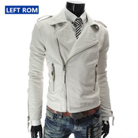 Wholesale mens synthetic leather jacket - Wholesale- New 2017 Men's Fashion Boutique PU Leather Leisure Locomotive Leather Jacket   Male Fine Casual Leather Lapels Jacket Mens Coat