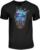 camisas para hombre espárragos al por mayor-Diamantes de imitación Studs Sugar Skull Camiseta Kings Crown dia de Los Muertos Small to 4XL Mens 2018 marca de moda Camiseta O-Neck 100% algodón