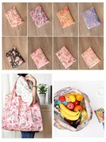 Wholesale Food Recycling Bags - Nylon Foldable Shopping Bag Reusable Tote Pouch Recycle Storage Grocery Handbags Eco Friendly Waterproof Bag DDA431