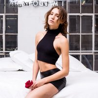 Wholesale Women Turtle T Shirt - Fashion New Women Knitted Crop Top Turtle Neck High Collar Bustier Vest Strapless Tops Solid Sleeveless Short t-shirt