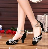 Wholesale Salsa Dance High Heels Shoes - women's Latin dance shoes female high-heeled breathable buckle soft outsole adult ballroom dancing shoes Salsa silver gold Tango Square shoe