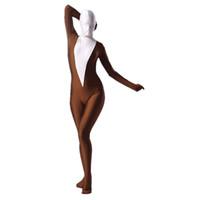 cadılar bayramı karma vücut uymak toptan satış-Cadılar bayramı Lycra Zentai Suit Kostüm Kahve ve Beyaz Spandex erkek Tam Vücut Kadınlar Için Tulum Unitard Dancewear