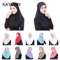 hijab de moda islámica al por mayor-KAYIZAN Moda Mujer Mantón Sombrero Hijab musulmán islámico árabe Ramadán bufanda de gasa suave Full Cove cómodo Turbante 2018