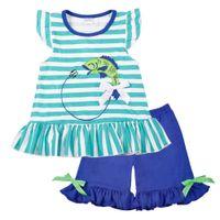 ördek dekor toptan satış-Toptan Bebek Kız Giysileri Yaz Mavi Kolsuz Üst Balık Nakış Dekor Desen Moda Fırfır Şort Eşleşen Erkek T-shirt Y1892807