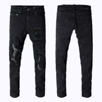 ingrosso pantaloni sportivi sottili per l'uomo-Jeans da uomo miri sport da running Jeans da motociclista skinny Sottili strappati Popolari Cool mendicante Vero buco vero pantaloni jeans firmati da uomo