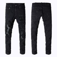 corrida de motos venda por atacado-Mens jeans miri esportes em execução Motociclista biker jeans skinny Magro rasgado Popular Legal pedinte Mottled buraco verdadeiros calças dos homens jeans de marca