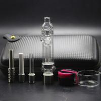 conjunto coletor nector venda por atacado-510 Limpar Evitar Reflux Glass Pipe Bag Set Com 510 Cerâmica De Quartzo Titânio Prego Dab Rig Honey Straw Nector Coletor Kit Para Fumar