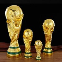 Wholesale full dolls - 2018 Russian World Cup Trophy Model Golden Full Resin Craftwork Football Trophy Fan Souvenir Decoration CCA9740 10pcs