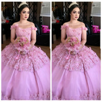 Wholesale one shoulder quinceanera dresses - 2018 New Sheer One Shoulder Ball Gown Quinceanera Dresses Custom 3D Floral Adorned Beaded Prom Party Gowns Vestidos De Quinceanera 16 Age