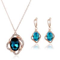 jóias colares design venda por atacado-2018 New Fashion Design conjuntos de jóias Para As Mulheres Colar, brincos de luxo de moda jóias de água de cristal