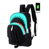Wholesale Free Sewing Pattern - Men Canvas Load Reduction Backpack Sewing Thread With Usb Interface Women Bags Luminated Cartoon Shark Pattern Free Shipping