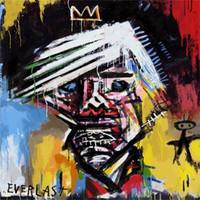 Wholesale graffiti art canvas prints resale online - Jean Michel Basquiat Handpainted HD Print Home Decor Abstract Graffiti Wall Art Oil Painting High quality On Canvas Multi sizes g71