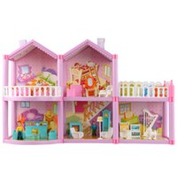 Wholesale pink area - 2 floors Purple-pink Villa 5 rooms + 1 Recreation area Dollhouse Kids DIY Assembled Kit Building Toy with all the accessories