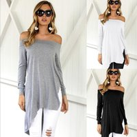 Wholesale white t shirt blouse women sexy for sale - Group buy Women Off Shoulder Irregular Hem T Shirt Long Sleeve Sexy Strapless Casual Tops Blouse Dress Clubwear OOA4189