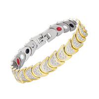 brazalete de luna al por mayor-Nuevo diseño Cadena de la luna Pulsera magnética Protección contra la radiación Cadena de enlace de cobre Imanes de energía Pulseras del encanto brazalete pulsera al por mayor