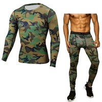 bodybuilding de vêtements de compression achat en gros de-2 PCS SETS Compression Shirt Leggings Camouflage Tee Shirt Homme Crossfit Porter Fitness Tshirt Hommes Bodybuilding Vêtements Rashguard