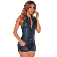 Wholesale denim overalls women rompers - Summer New women clothing 2018 fashion cowboy shorts jumpsuit women slim Thin Rompers jeans summer casual denim siamese shorts women vest Ro