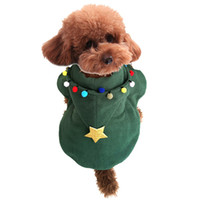Wholesale warm pet hat for winter resale online - Merry Christmas Pet dog Hoodie Coat Festival Xmas Christmas Tree Puppy Cloack clothing with Hat Winter warm apparel green for Doggy