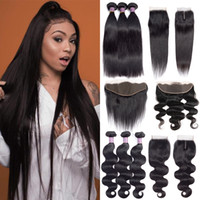 Wholesale grades human hair extension for sale - Group buy Grade A Brazilian Straight Virgin Human Hair Bundles With Closure Frontal Ear To Ear Unprocessed Indian Body Wave Hair Extensions Bundles