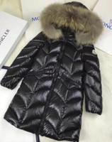 trenzado de pelo largo al por mayor-caliente Nuevo invierno nuevas chicas trenzas pelo collar grande ganso blanco abajo grueso abajo chaqueta rojo negro abrigo largo 1 pcs ZHU