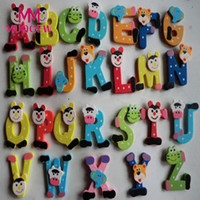 Wholesale Alphabet Magnets Children - 26pcs Wooden Cartoon Animal Alphabet ABC-Z 26 Letters Magnet Wooden Children Toy Preschool Learning Tool Educational toys