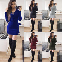 Wholesale red dolman sweater - Women Dresses Long Sleeve Knitted Sweater Dress V Neck Slim Dress Winter Sexy Dress Fashion Evening Party Mini Casual Dresses YFA37