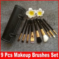 Wholesale hair cases online - M Brand Makeup Brushes Set Kit Travel Beauty Professional Wood Handle Foundation Lips Cosmetics Makeup Brush with Holder Cup Case