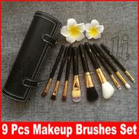 conjunto de kit de viaje al por mayor-Marca M 9 piezas de maquillaje Juego de pinceles de viaje Belleza profesional Mango de madera Fundación Labios Cosméticos Pincel de maquillaje con estuche para taza
