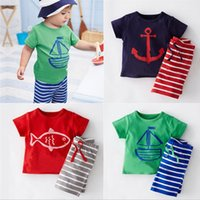 Wholesale european fishing - Boys T-shirts Shorts Suit 1-5T Pirate Boat Anchor Fish Cartoon Printed Boys Clothing Sets Striped Short Sleeve Cotton Boys Summer Suits