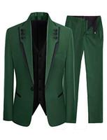 темно-зеленый пиджак оптовых-Fashion Customized Dark Green Men's Slim High Quality  Suit Business Groom Wedding Dress 3 Piece Coat Pants Vest