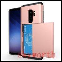 capa de nota de galaxia al por mayor-Para el caso de la armadura híbrida del caso del iPhone X 8 Caso de las diapositivas de la tarjeta de la capa doble para el Samsung Galaxy Note 8 S9 más A310 A510 A710
