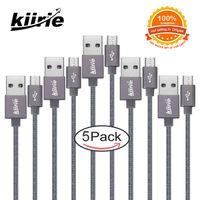 cable micro flex al por mayor-Cables micro USB Kiirie Cable de carga usb universal duradero 5Pack 1x0.5m 3x1m 1x1.5m 6000+ Flex Lifespan Nylon Trenzado Android Cargador de cable
