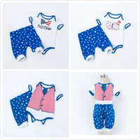 Wholesale new baby boy clothing online - New Baby Boys Girls Clothes Sets Independence Day Short Sleeve Rompers and Harem Pants Sets Summer Blue Stars Kids Clothing T