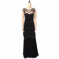 grandes faldas al por mayor-Lentejuelas vestido de baile latino Gran vestido de Gatsby Vestidos de las muchachas de la aleta Más tamaño Cuello sin mangas Falda larga Fiesta Mini vestidos