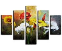 conjuntos de pinturas a óleo venda por atacado-Grande 5 Painel de Lona Pictures Pictures Home Art Pintados À Mão-Abstrata Flor Pintura A Óleo Handmade Colorido Pinturas Florais