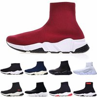 Wholesale cotton football socks for sale - Drop shipping Luxury Sock Shoe Speed Trainer Running Sneakers Speed Trainer Sock Race Runner black Paris women men Sports sock Shoes trainer