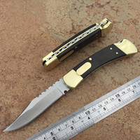 Wholesale knives for wood for sale - high quality auto knife single action brass wood handle C camping knife xmas gift knife for man