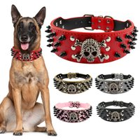 Wholesale pitbull leather spiked dog collars online - 2 quot Wide Spiked Studded Leather Dog Collar Bullet Rivets With Cool Skull Pet Accessories For Meduim Large Dogs Pitbull Boxer S Xl