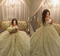 Wholesale exquisite brides wedding dresses resale online - 2019 Arabic Off Shoulder Wedding Dress Exquisite Ball Gown Long Lace Appliques Church Formal Bride Bridal Gown Plus Size Custom Made