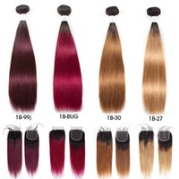 Wholesale 99j human hair online - Pre colored Raw Indian Hair Bundles with Closure b Ombre T1B J Straight Human Hair Weaves Bundles with Closure T1B T1B BUG