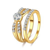 Wholesale Ring Wedding Pair Gold - whole saleCACANA 2pcs Pair Gold Color Couple Rings Classic Men Women Couple Wedding Band Jewelry Accessories Lovers' Gift