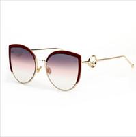 ingrosso occhiali da sole brandy per occhi gatto-Cat eye Occhiali da sole Uomo Donna Brand Designer Occhiali Metallo Frame Mirror Occhiali da sole Occhiali Moda Alta qualità UV400