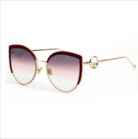 металлическая оправа кошачий глаз очки оптовых-Кошачий глаз Солнцезащитные очки Мужчины Женщины бренд дизайнер очки металлический каркас зеркало очки Солнцезащитные очки Мода высокое качество UV400