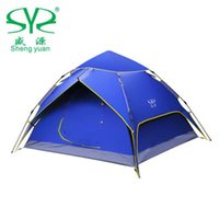 Wholesale Blue Awning - Outdoor Beach Hydraulic Automatic Tent Fishing Double Layer Waterproof Speed Open Multifunction 3- 4 Perosn Camping Awning Tent
