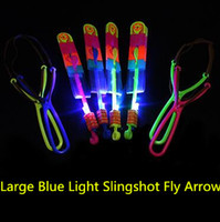 Wholesale rubber helicopters resale online - 300pcs Amazing Light Arrow Rocket Helicopter Flying Toy LED Light Flash Toys Party Fun Gift Rubber Band Catapult